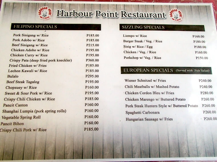 レストランのメニュー パンシット(フィリピンの焼きそば風)やアドボ(フィリピンの煮込み料理)などの定番フィリピン料理はもちろん、スパゲッティやサンドイッチなどの洋食もオーダー可能です。