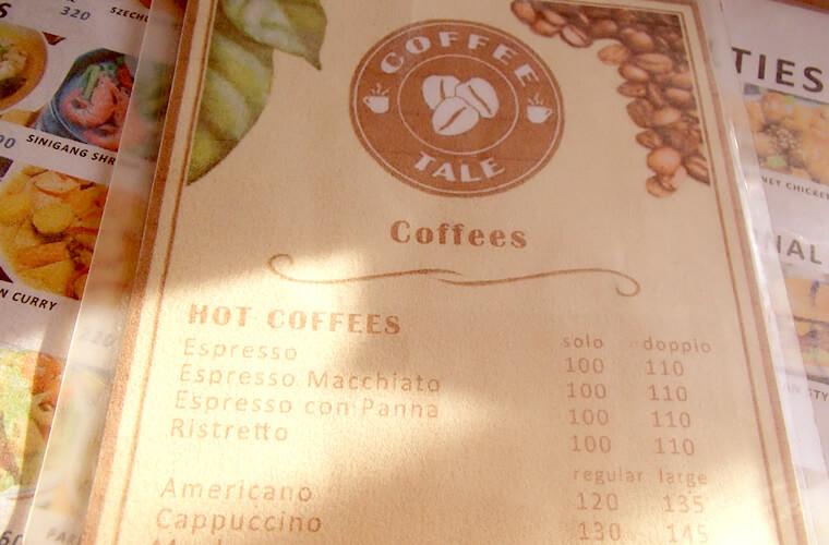 メニューの一部です。私は濃〜いコーヒーが好きなのですが、ここはアメリカンでもわりと濃いめ。