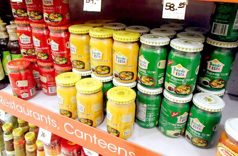 ありました!プエルトガレラのスーパーマーケットCANDAVAにも。他にもBagoong Spicy・Bagoong Sweetとあります。
