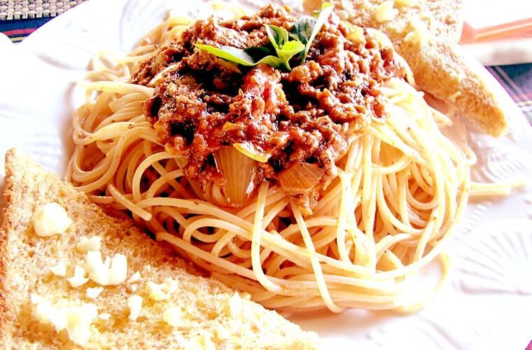 アルデンテで出てきたスパゲッティボロネーゼ。美味しかったです!