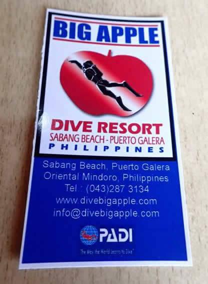 Big Apple Dive Resort(ビッグ アップル ダイブ リゾート) プエルトガレラのダイビングショップ!